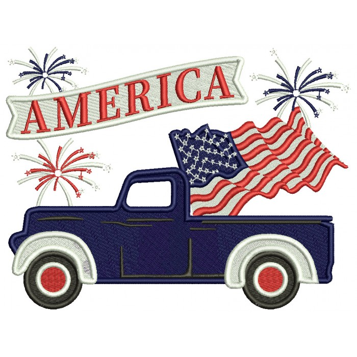 America Truck With a Flag Patriotic Filled Machine Embroidery Design Digitized Pattern