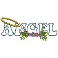 Angel With Flowers Applique Machine Embroidery Design Digitized Pattern