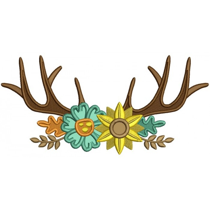 Antlers With Flowers Applique Machine Embroidery Design Digitized Pattern