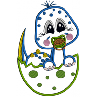 Baby Dinosaur Hatching From The Egg Applique Machine Embroidery Design Digitized Pattern