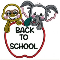 Back To School Elephant and Turtle Applique Machine Embroidery Design Digitized Pattern