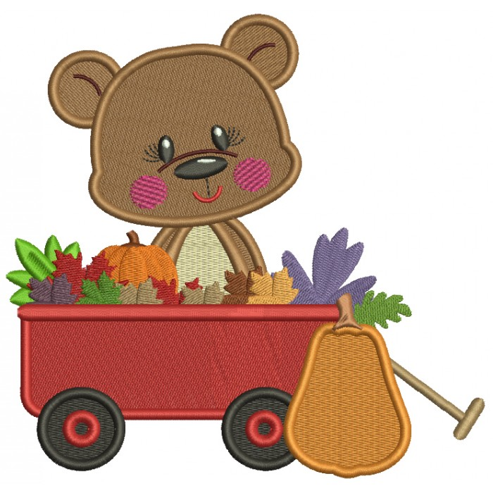 Bear Sitting Inside A Wagon With Pumpkins And Leaves Thanksgiving Filled Machine Embroidery Design Digitized Pattern