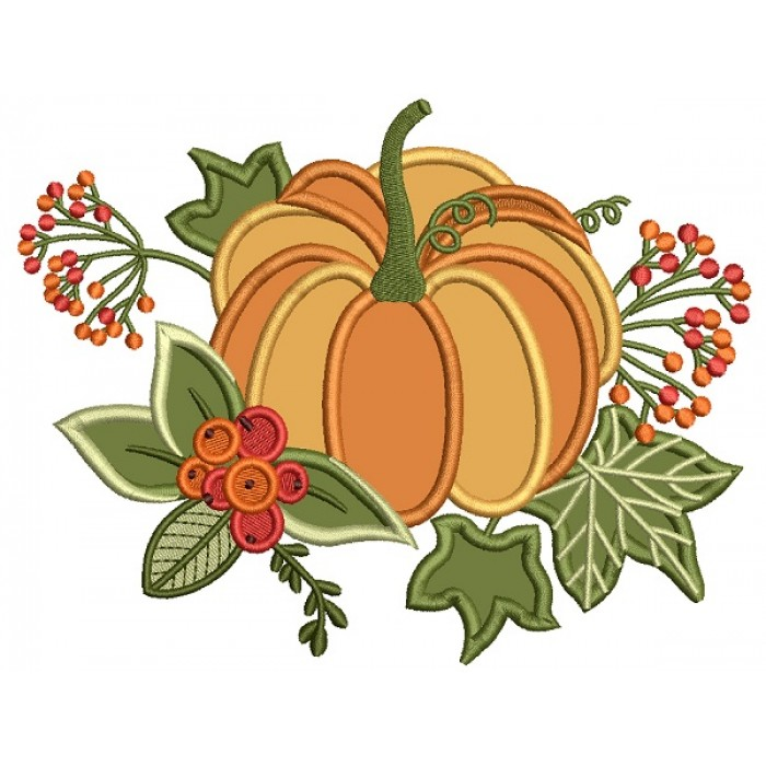 Beautiful Pumpkin With Leaves Fall Thanksgiving Applique Machine Embroidery Design Digitized Pattern