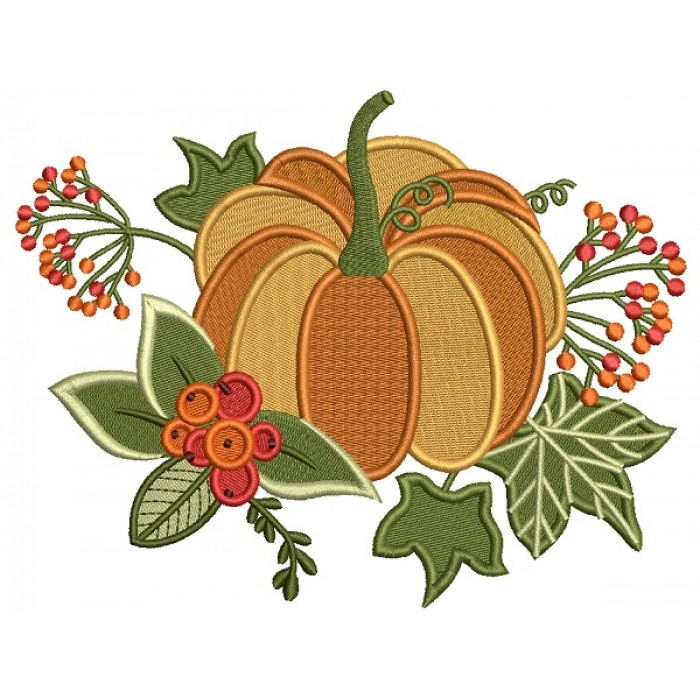 Beautiful Pumpkin With Leaves Fall Thanksgiving Filled Machine Embroidery Design Digitized Pattern