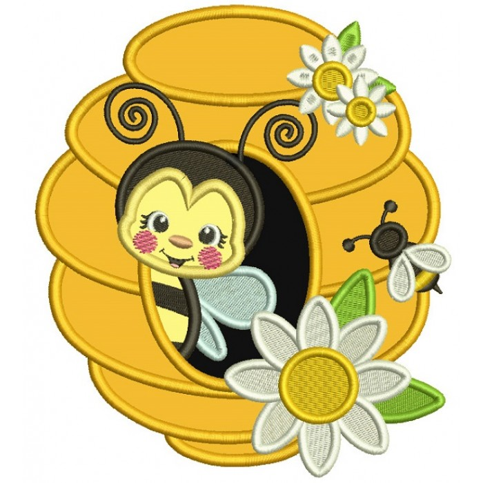 Bee Inside a Honeycomb Applique Machine Embroidery Digitized Design Pattern