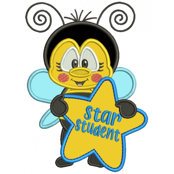 Bee Star Student School Applique Machine Embroidery Design Digitized Pattern