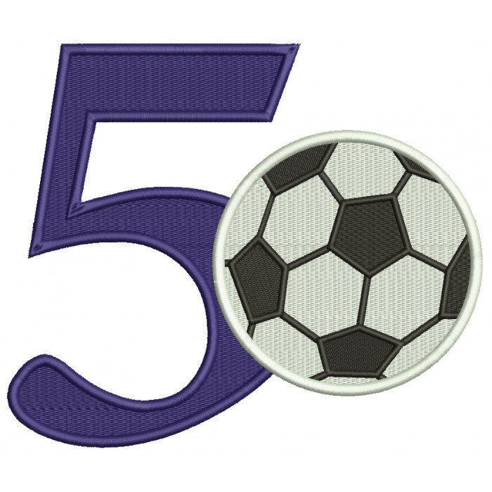 Birthday Number Five Soccer Filled Machine Embroidery Design Digitized Pattern