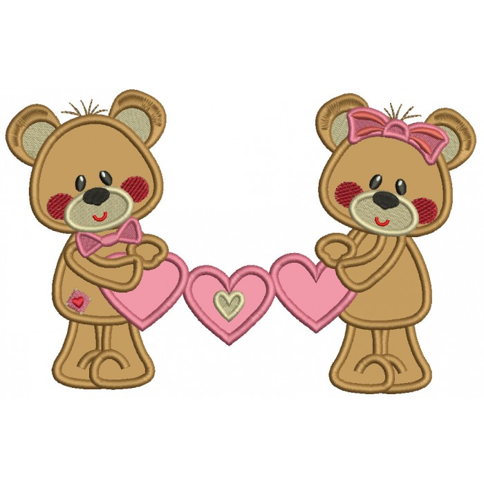 Boy And Girl Bears Holding Hearts Valentine's Day Applique Machine Embroidery Design Digitized Pattern