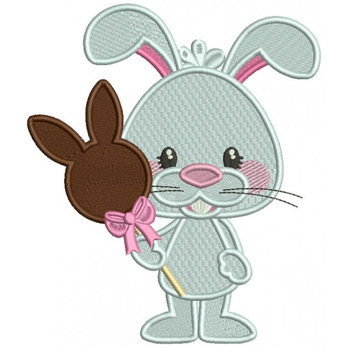 Bunny Holding Chocolate Bunny Candy Filled Easter Machine Embroidery Design Digitized Pattern