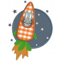 Bunny To The Moon Easter Applique Machine Embroidery Design Digitized Pattern