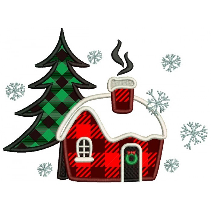 Christmas Tree And Cabin In The Woods Christmas Applique Machine Embroidery Design Digitized Pattern