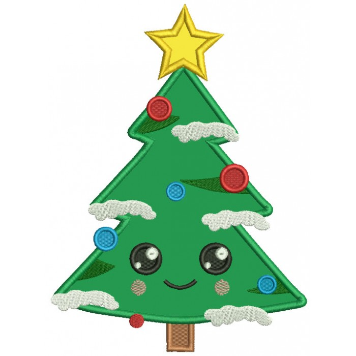 Christmas Tree With A Very Big Smile Applique Machine Embroidery Design Digitized Pattern