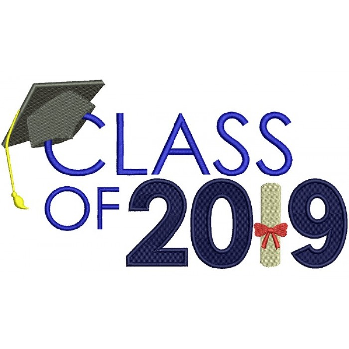 Class Of 2019 School Graduation Filled Machine Embroidery Design Digitized Pattern
