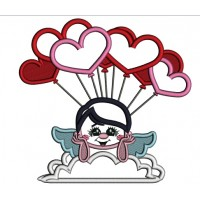 Cupid With Balloons Applique Machine Embroidery Design Digitized Pattern