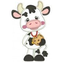 Cute Baby Cow Holding a Neckless Cookie Applique Machine Embroidery Design Digitized Pattern