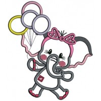 Cute Baby Elephant Holding Balloons Applique Machine Embroidery Design Digitized Pattern