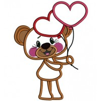 Cute Bear Holding Heart Shaped Balloons Applique Machine Embroidery Design Digitized Pattern