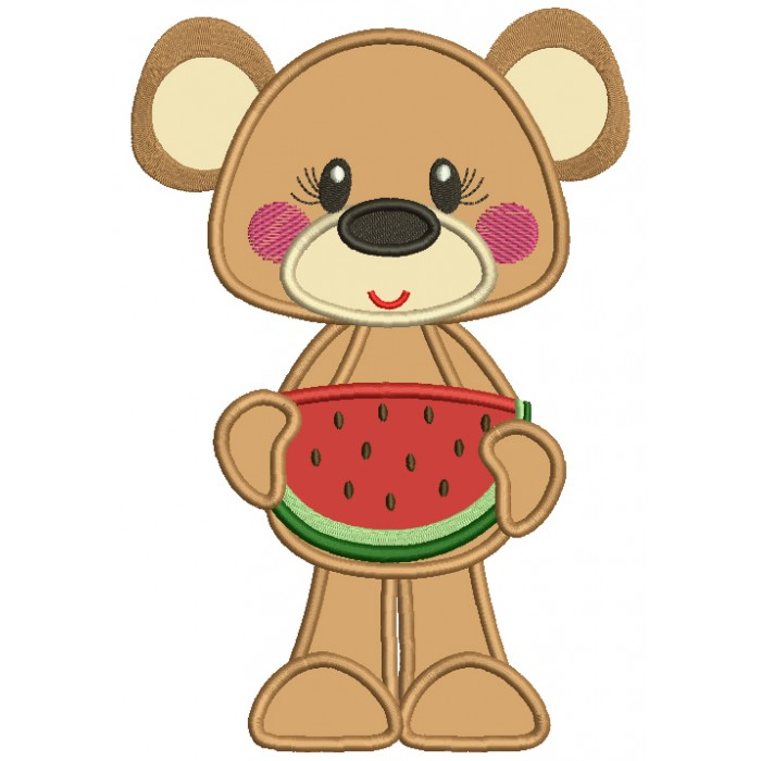 Cute Bear Holding Slice Of Watermelon Applique Machine Embroidery Design Digitized Pattern