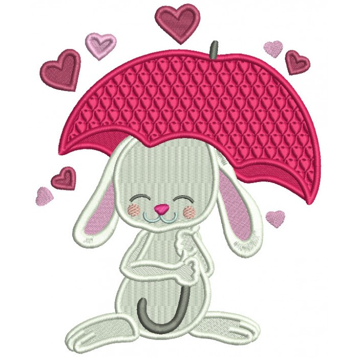 Cute Bunny Under Umbrella With Hearts Valentine's Day Filled Machine Embroidery Design Digitized Pattern