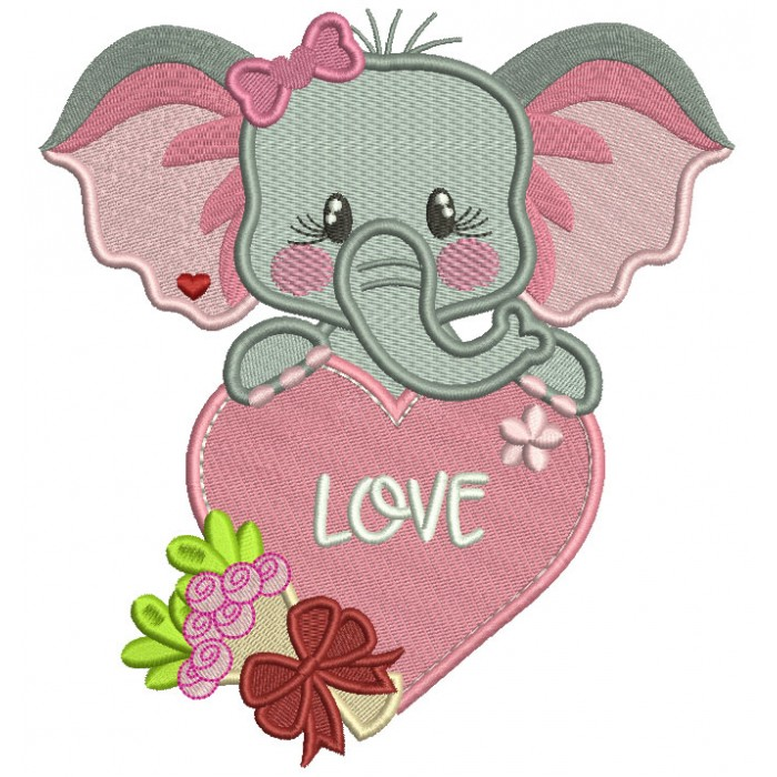 Cute Elephant Holding Big Heart With Flowers Filled Valentine's Day Machine Embroidery Design Digitized Pattern