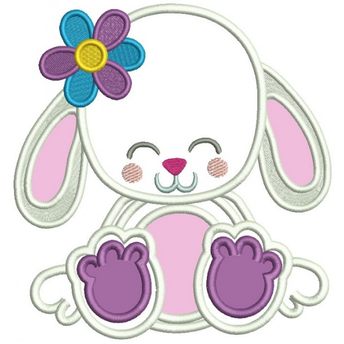 Cute Little Bunny WIth a Flower Summer Applique Machine Embroidery Digitized Design Pattern