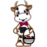 Cute Little Cow Holding Basket Full Of Hearts Applique Valentine's Day Machine Embroidery Design Digitized Pattern
