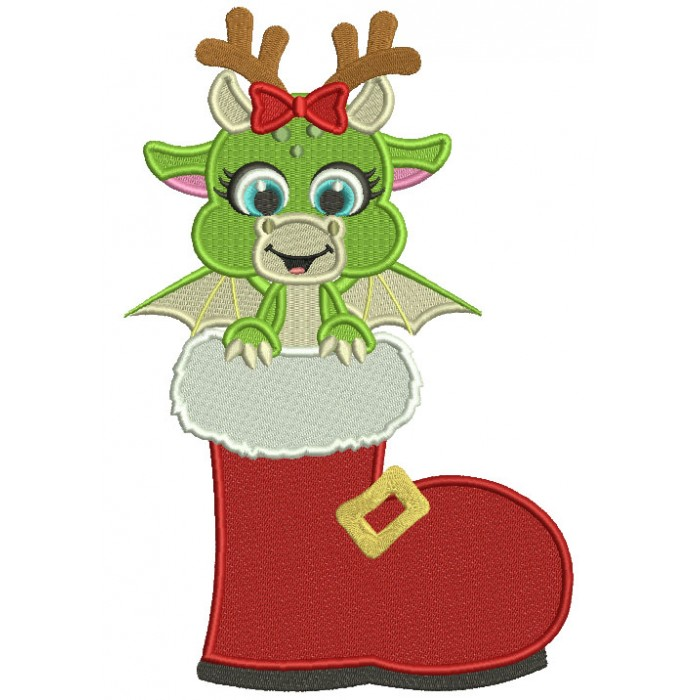 Cute Little Dragon Sitting Inside Santa Shoe Filled Christmas Machine Embroidery Design Digitized Pattern