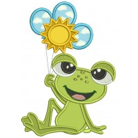 Cute Little Frog Holding Three Balloons Applique Machine Embroidery Design Digitized Pattern