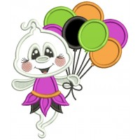 Cute Little Ghost Holding Balloons Halloween Applique Machine Embroidery Design Digitized Pattern