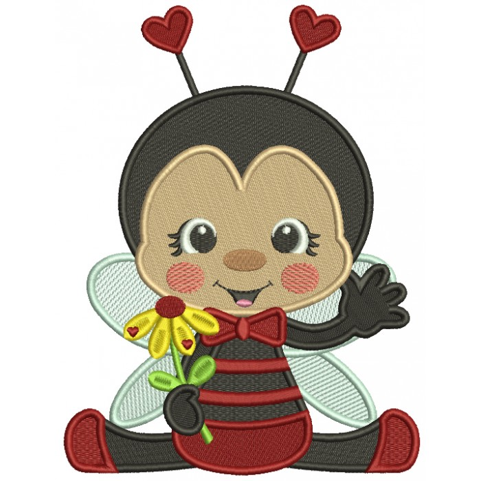 Cute Little Ladybug Holding a Flower Filled Machine Embroidery Design Digitized Pattern
