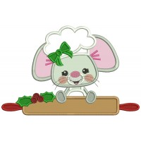 Cute Little Mouse Cook Applique Christmas Machine Embroidery Design Digitized Pattern