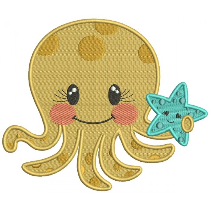 Cute Little Octopus Holding a Starfish Marine Filled Machine Embroidery Design Digitized Pattern