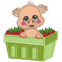 Cute Little Pig Sitting Inside a Basket Filled With Strawberries Applique Machine Embroidery Design Digitized Pattern