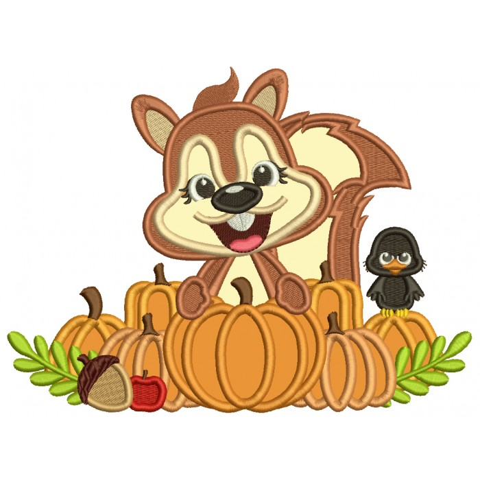 Cute Little Squirrel With a Bird Acorns and Pumpkins Applique Filled Machine Embroidery Design Digitized Pattern