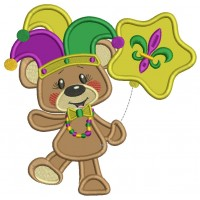 Cute Mardi Gras Bear Applique Machine Embroidery Design Digitized Pattern