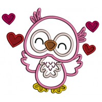 Cute Owl With Hearts Applique Machine Embroidery Design Digitized Pattern