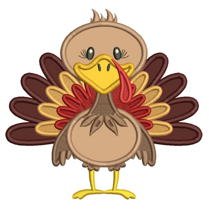 Cute Turkey With Huge Feathers Thanksgiving Applique Machine Embroidery Design Digitized Pattern