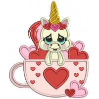 Cute Unicorn Inside a Cup With Hearts Applique Machine Embroidery Design Digitized Pattern
