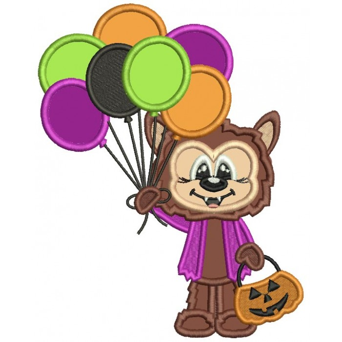Cute Wolf Holding Balloons Halloween Applique Machine Embroidery Design Digitized Pattern