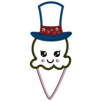 Dark Chocolate Cone Wearing American Hat 4th Of July Patriotic Applique Machine Embroidery Digitized Design Pattern