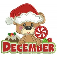 December Bear Holding Candy Christmas Applique Machine Embroidery Design Digitized Pattern