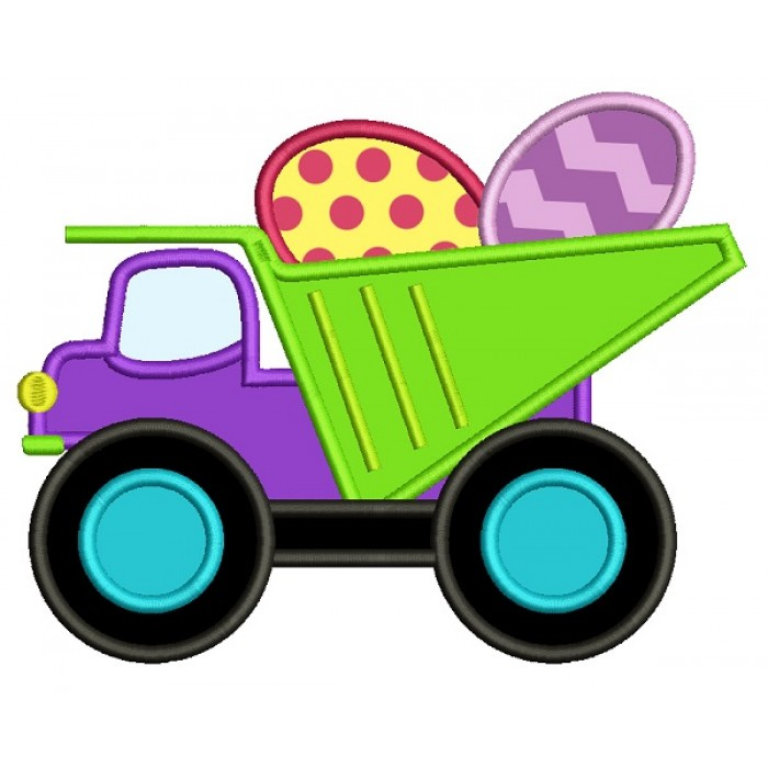 Dump Truck With Easter Eggs Applique Machine Embroidery Design Digitized Pattern
