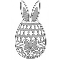 Easter Egg With Bunny Ears Applique Machine Embroidery Design Digitized Pattern