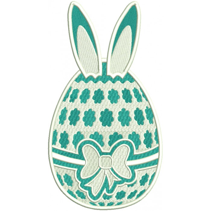 Easter Egg With Bunny Ears Filled Machine Embroidery Design Digitized Pattern