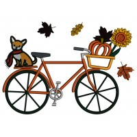 Fall Bike With a Cute Dog And a Pumpkin Applique Thanksgiving Machine Embroidery Design Digitized Pattern