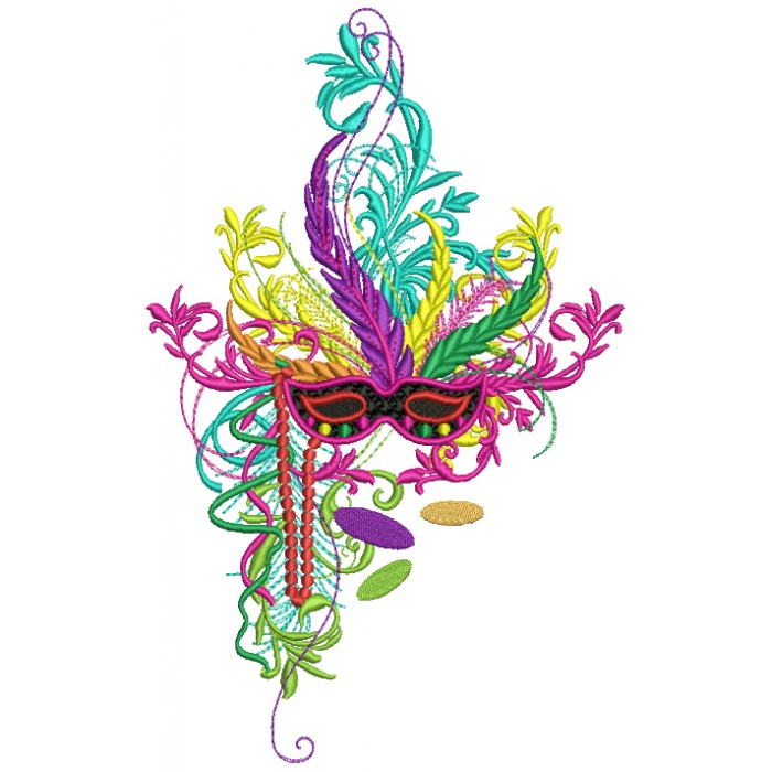 Fancy Mardi Gras Mask With Beads Filled Machine Embroidery Design Digitized Pattern