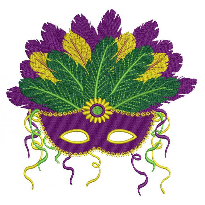 Fancy Mardi Gras Mask With Gorgeous Feathers Filled Machine Embroidery Design Digitized Pattern