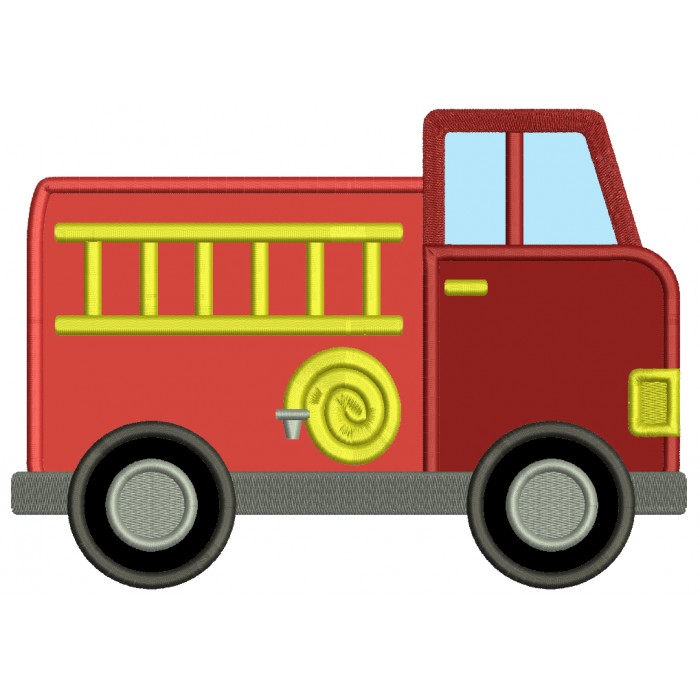 Fire Truck With a Hose And Ladder Applique Machine Embroidery Design Digitized Pattern
