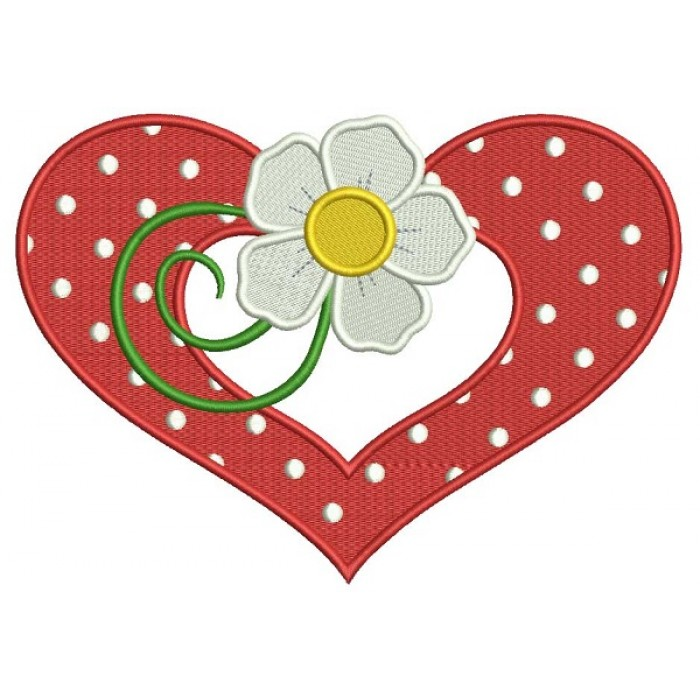 Flower and a Heart Filled Machine Embroidery Design Digitized Pattern