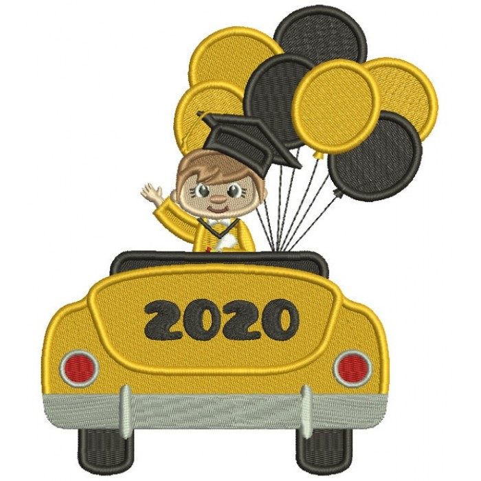 Graduate Boy With Balloons 2020 Filled Machine Embroidery Design Digitized Pattern